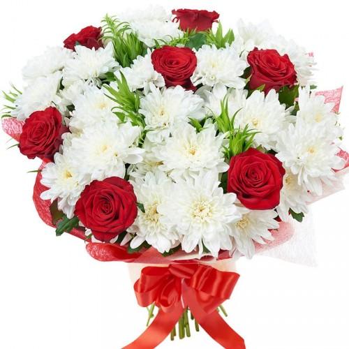 Букет красные розы и белые хризантемы, оптовая база живых цветы в краснодаре