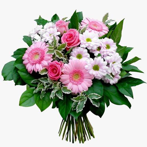 Нежный букет из роз, гербер и хризантем в розовых тонах