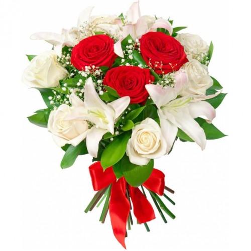 Букет из красных роз, белых лилий и белых роз